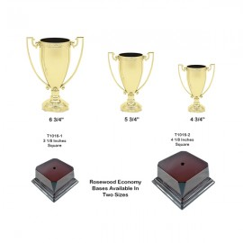 Tennis Trophies And Awards Trophies - T1015-wb - Die Cast Metal Zinc Cups With Choice Of Rosewood Base T1015-WB