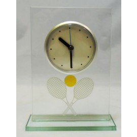 Glass Desk Clock - T812 - Tennis Trophies And Awards Awards T812
